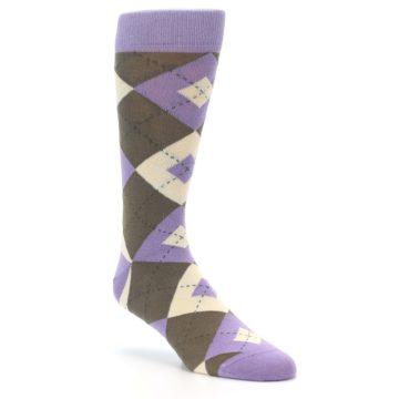 Image of Orchid Purple Brown Argyle Men's Dress Socks (side-1-27)