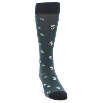 Image of Green White Money Dollar Signs Men's Dress Socks (side-1-front-03)