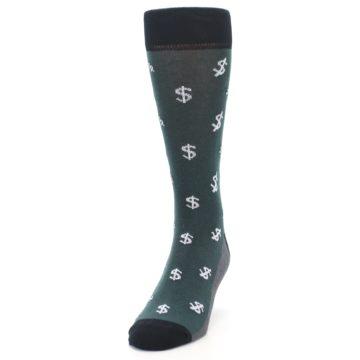 Image of Green White Money Dollar Signs Men's Dress Socks (side-2-front-06)