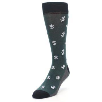 Image of Green White Money Dollar Signs Men's Dress Socks (side-2-front-07)