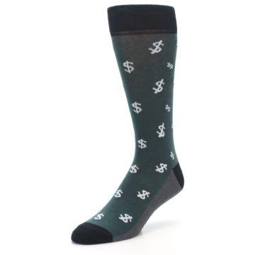 Image of Green White Money Dollar Signs Men's Dress Socks (side-2-front-08)