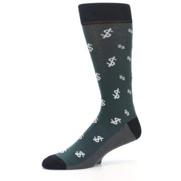 Image of Green White Money Dollar Signs Men's Dress Socks (side-2-10)