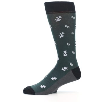 Image of Green White Money Dollar Signs Men's Dress Socks (side-2-11)