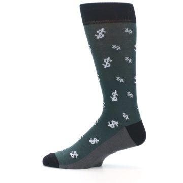 Image of Green White Money Dollar Signs Men's Dress Socks (side-2-12)