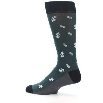 Image of Green White Money Dollar Signs Men's Dress Socks (side-2-13)