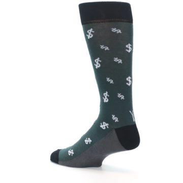 Image of Green White Money Dollar Signs Men's Dress Socks (side-2-back-14)