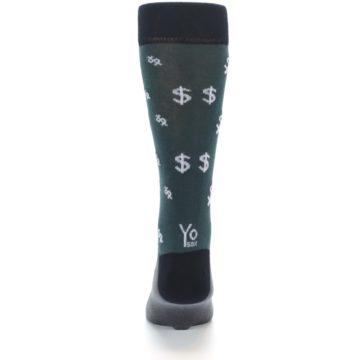 Image of Green White Money Dollar Signs Men's Dress Socks (back-18)
