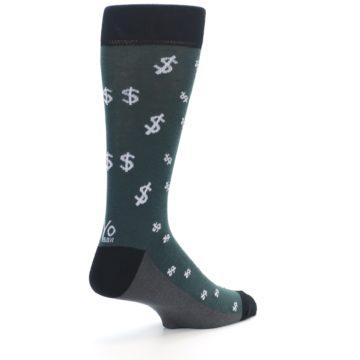 Image of Green White Money Dollar Signs Men's Dress Socks (side-1-back-22)