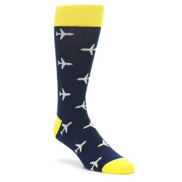 Navy-Yellow-Airplane-Pattern-Mens-Dress-Socks-boldSOCKS