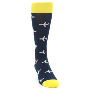 Image of Navy Yellow Airplane Pattern Men's Dress Socks (side-1-front-03)