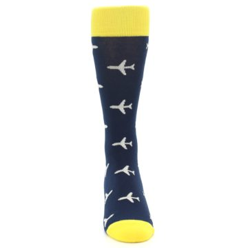Image of Navy Yellow Airplane Pattern Men's Dress Socks (front-04)