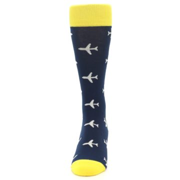 Image of Navy Yellow Airplane Pattern Men's Dress Socks (front-05)