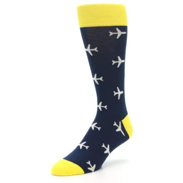 Image of Navy Yellow Airplane Pattern Men's Dress Socks (side-2-front-08)