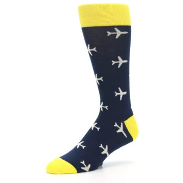 Image of Navy Yellow Airplane Pattern Men's Dress Socks (side-2-09)