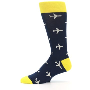 Image of Navy Yellow Airplane Pattern Men's Dress Socks (side-2-11)