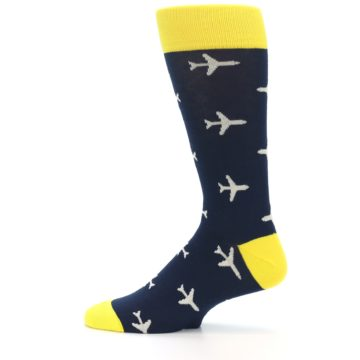 Image of Navy Yellow Airplane Pattern Men's Dress Socks (side-2-12)