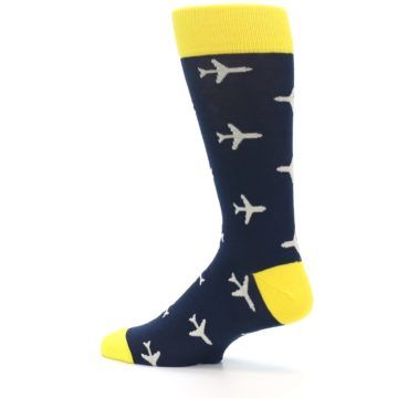 Image of Navy Yellow Airplane Pattern Men's Dress Socks (side-2-13)