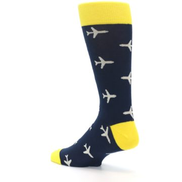 Image of Navy Yellow Airplane Pattern Men's Dress Socks (side-2-back-14)