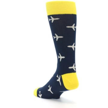 Image of Navy Yellow Airplane Pattern Men's Dress Socks (side-2-back-15)