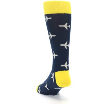 Image of Navy Yellow Airplane Pattern Men's Dress Socks (side-2-back-16)
