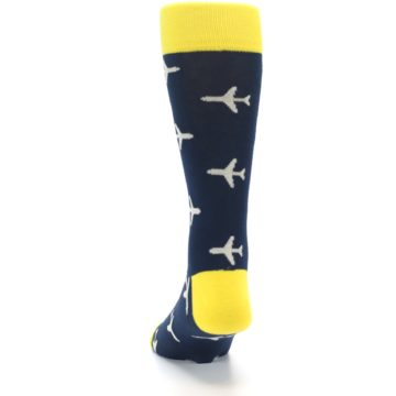 Image of Navy Yellow Airplane Pattern Men's Dress Socks (back-17)