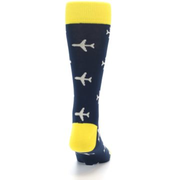Image of Navy Yellow Airplane Pattern Men's Dress Socks (back-19)