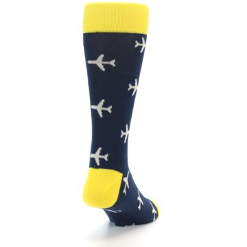 Image of Navy Yellow Airplane Pattern Men's Dress Socks (side-1-back-20)