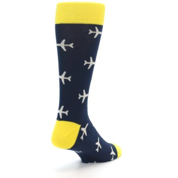 Image of Navy Yellow Airplane Pattern Men's Dress Socks (side-1-back-21)