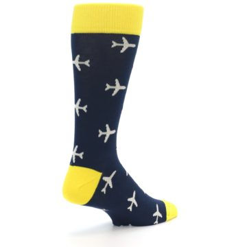 Image of Navy Yellow Airplane Pattern Men's Dress Socks (side-1-back-22)
