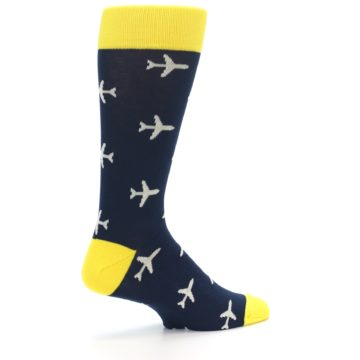 Image of Navy Yellow Airplane Pattern Men's Dress Socks (side-1-23)