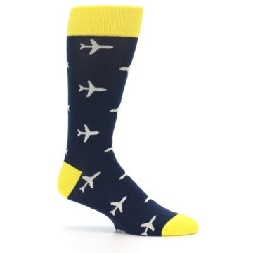 Image of Navy Yellow Airplane Pattern Men's Dress Socks (side-1-25)