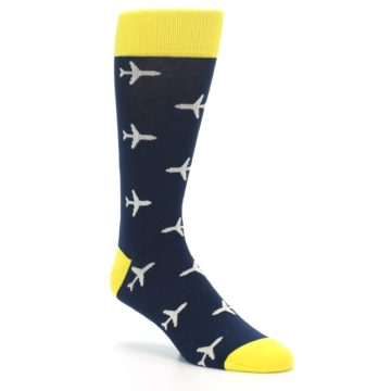 Image of Navy Yellow Airplane Pattern Men's Dress Socks (side-1-27)