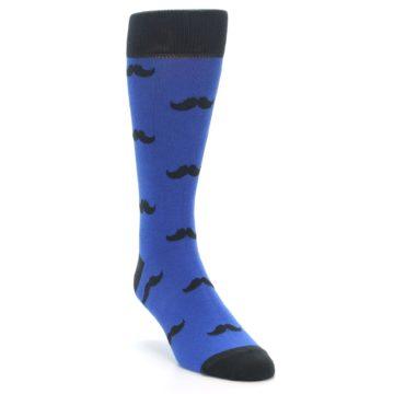 Image of Blue Black Mustache Men's Dress Socks (side-1-front-02)