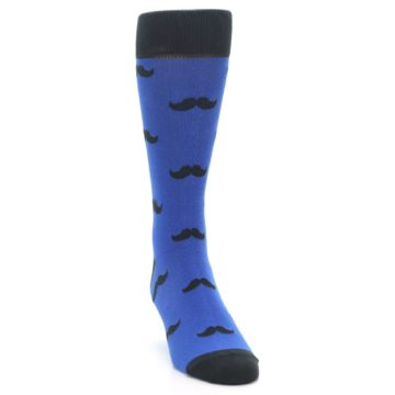 Image of Blue Black Mustache Men's Dress Socks (side-1-front-03)