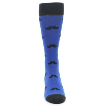 Image of Blue Black Mustache Men's Dress Socks (front-04)