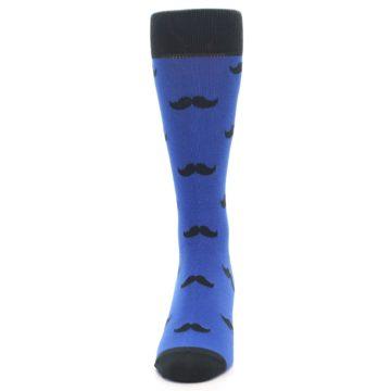 Image of Blue Black Mustache Men's Dress Socks (front-05)
