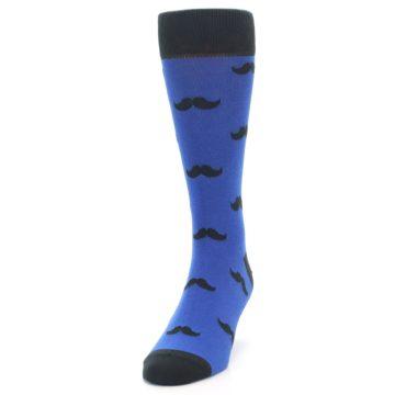 Image of Blue Black Mustache Men's Dress Socks (side-2-front-06)