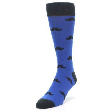 Image of Blue Black Mustache Men's Dress Socks (side-2-front-07)