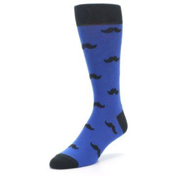 Image of Blue Black Mustache Men's Dress Socks (side-2-front-08)