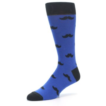 Image of Blue Black Mustache Men's Dress Socks (side-2-09)