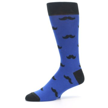 Image of Blue Black Mustache Men's Dress Socks (side-2-10)