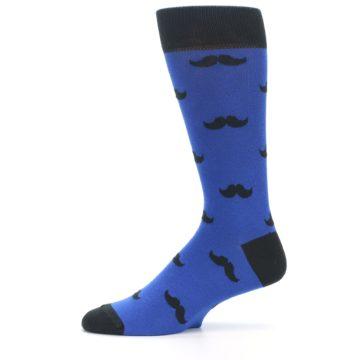 Image of Blue Black Mustache Men's Dress Socks (side-2-11)