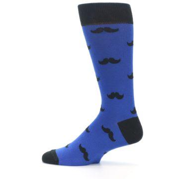 Image of Blue Black Mustache Men's Dress Socks (side-2-12)