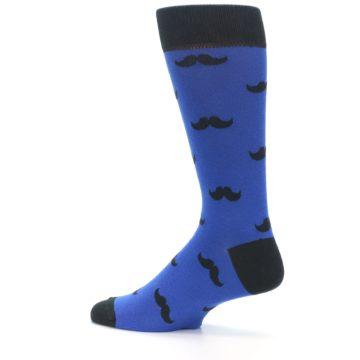 Image of Blue Black Mustache Men's Dress Socks (side-2-13)