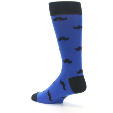 Image of Blue Black Mustache Men's Dress Socks (side-2-back-14)