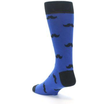 Image of Blue Black Mustache Men's Dress Socks (side-2-back-15)