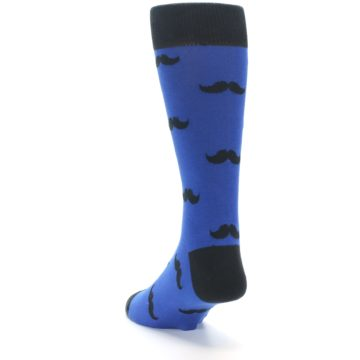 Image of Blue Black Mustache Men's Dress Socks (side-2-back-16)