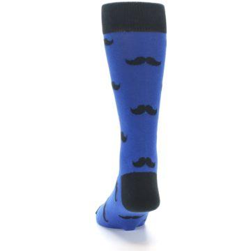 Image of Blue Black Mustache Men's Dress Socks (back-17)
