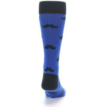 Image of Blue Black Mustache Men's Dress Socks (back-19)