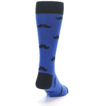 Image of Blue Black Mustache Men's Dress Socks (side-1-back-20)